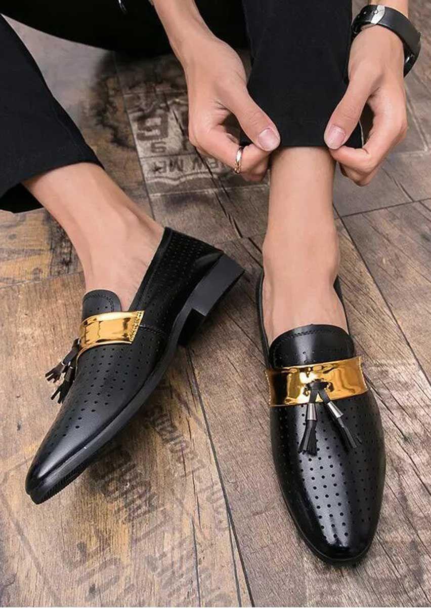 Black tassel buckle hollow leather slip on dress shoe in