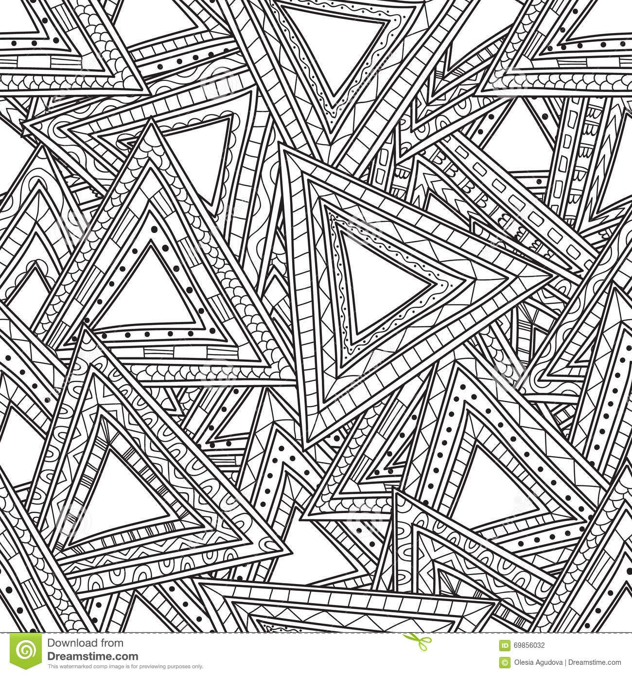 seamless black white pattern triangles coloring pages adults anti
