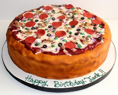 Remarkable Pizza Birthday Cake Too Cute Cakes Concepts Pizza Birthday Funny Birthday Cards Online Alyptdamsfinfo