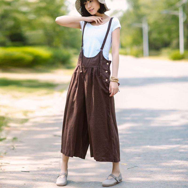c07943b94294 Women Linen Loose Coffee Jumpsuits