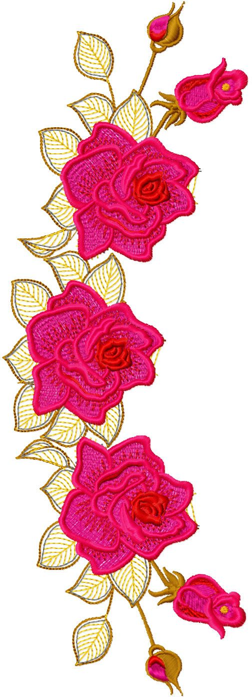 Rose decoration free embroidery design - Flowers free