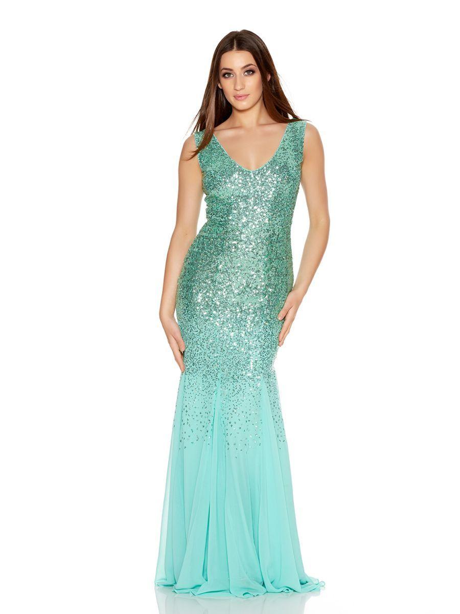Green V Neck Chiffon Fishtail Maxi Dress - Quiz Clothing | Pinterest ...