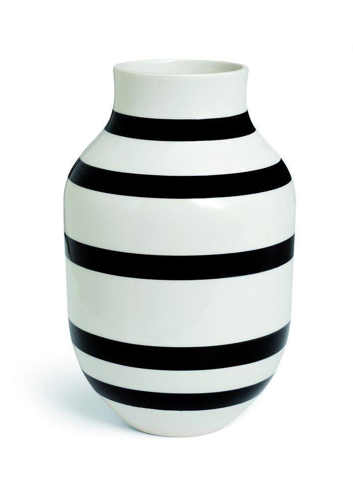 Kähler Design - Vase Omaggio - Streifen schwarz weiß - 30 cm - küche schwarz weiß