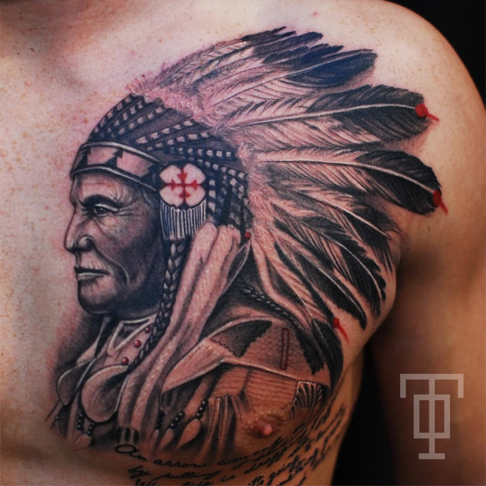 Black ink indian chief tattoo on man chest tattoo for Indian ink tattoo