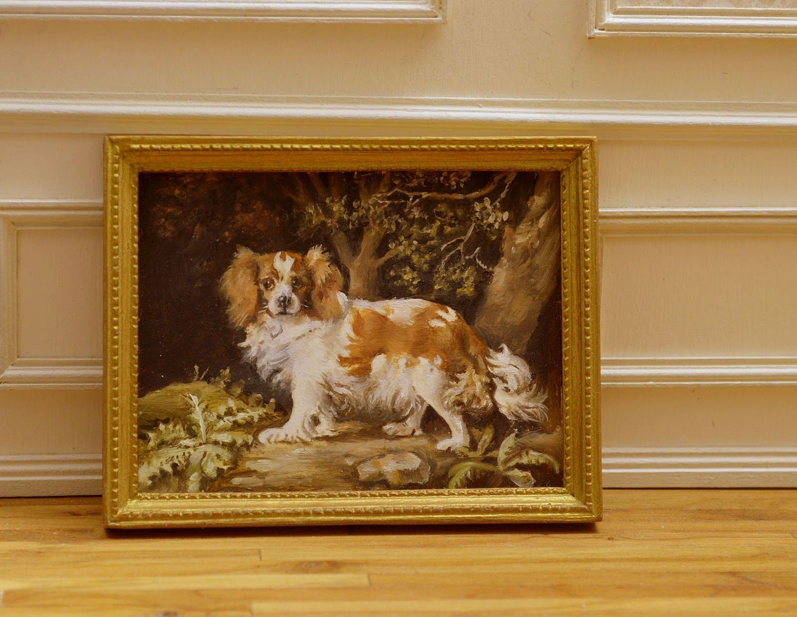 """Cavalier King Charles spaniel, oil. Hand carved frame. 2-1/2"""" by 3-1/4""""."""