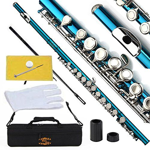 SKY Brand New Band Approved Silver Plated Gold Key C Flute w Case Accessories