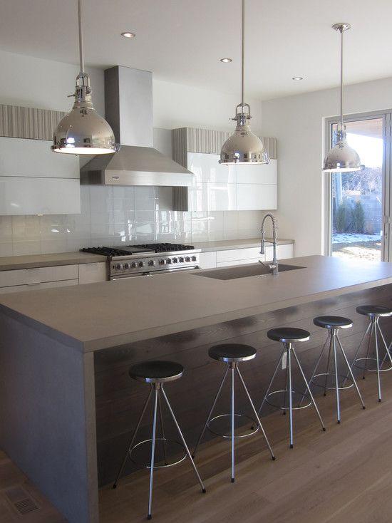 Grey Island White Flat Cabinets Lighting Layout