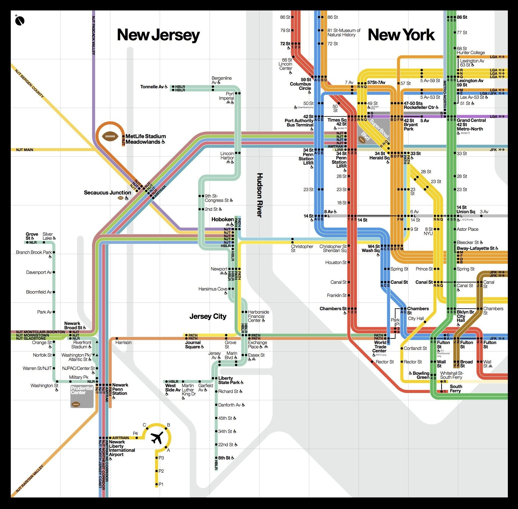 New York City Subway Map 2014.Extended Subway Map Done In The Vignelli Style For The 2014 Superbowl Showing The Nearby Nj Commuter Lines And Path Subway Map Nyc Subway Map Transit Map