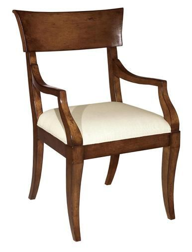 New French Country Style Dining Arm Chair Medium Brown Neutral Fabric Seat