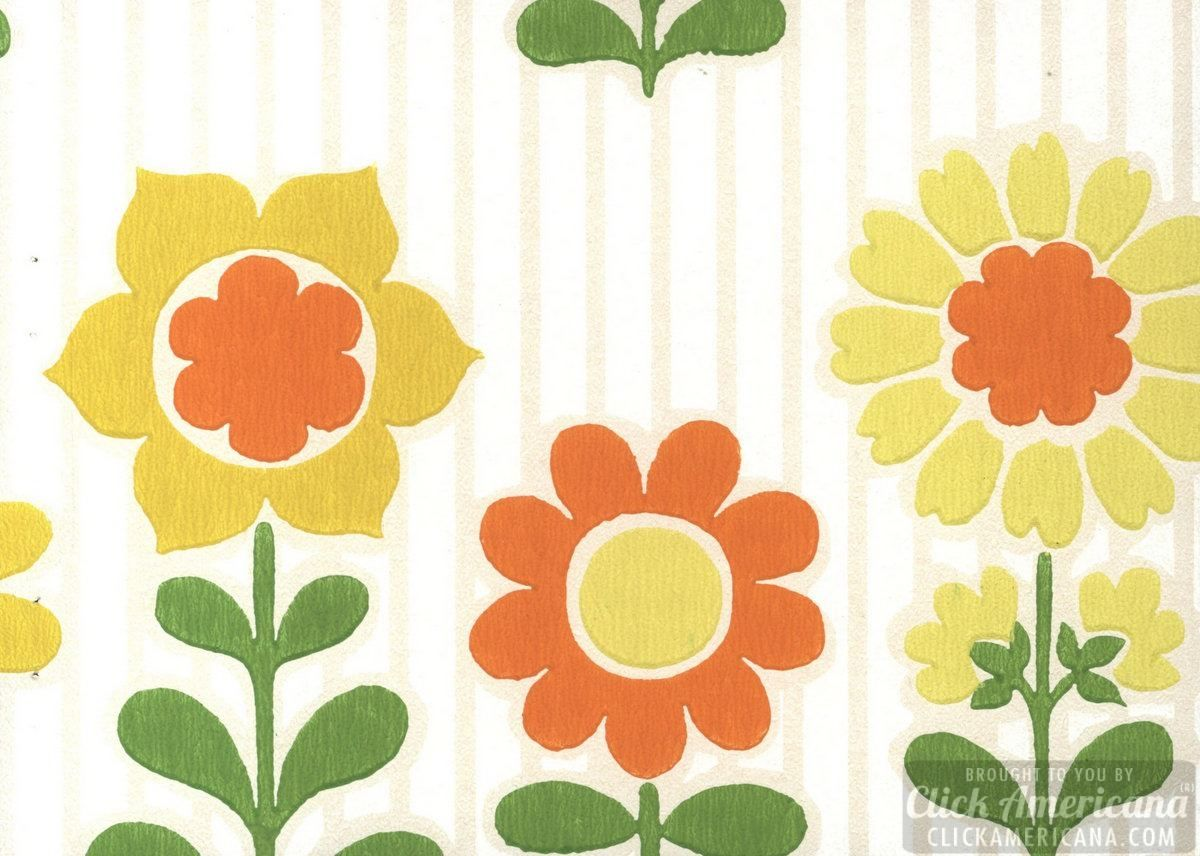 Retro floral wallpaper sample from 1963 Floral wallpaper