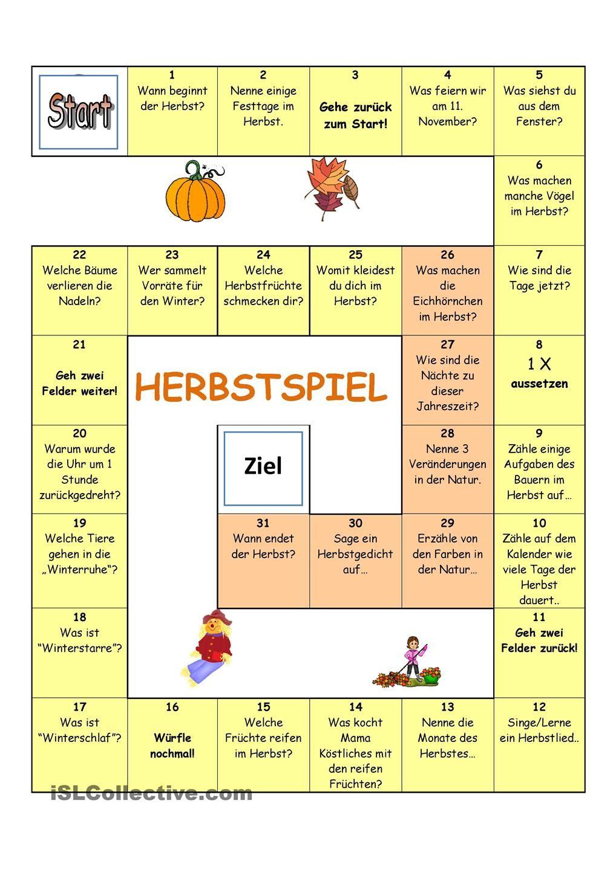 Herbstspiel | German, Kindergarten and German language