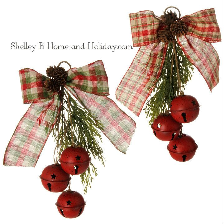 Christmas Bell Decorations Red Jingle Bell W Cedar & Bow Ornaments Set 2 11 Inch  Jingle