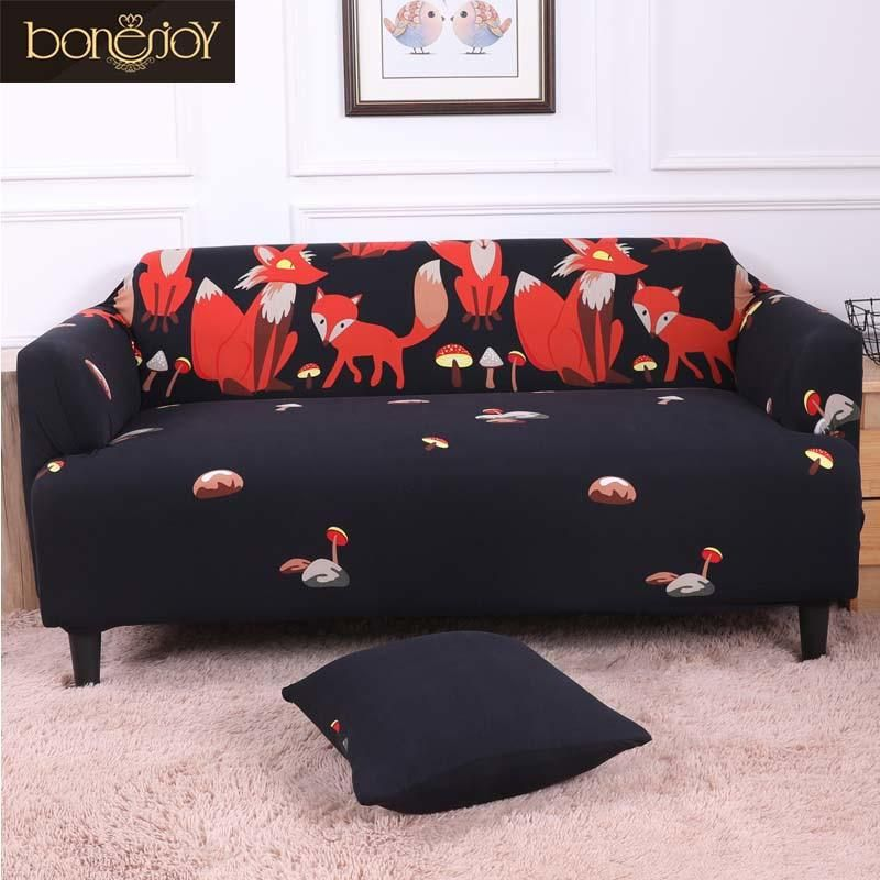 Bonenjoy Black Color Sofa Cover Red Fox Printed Elasticity Couch Cover Cartoon Furniture Cover Sectional Sofa Cover Couch Covers Sofa Covers Furniture Covers