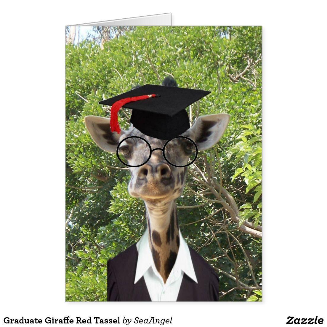 Graduate giraffe red tassel card giraffe
