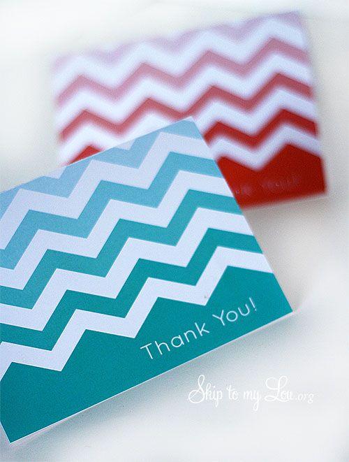 Free printable chevron notecards- thank you notes. skiptomylou.org #free #printable #notecard #thankyou