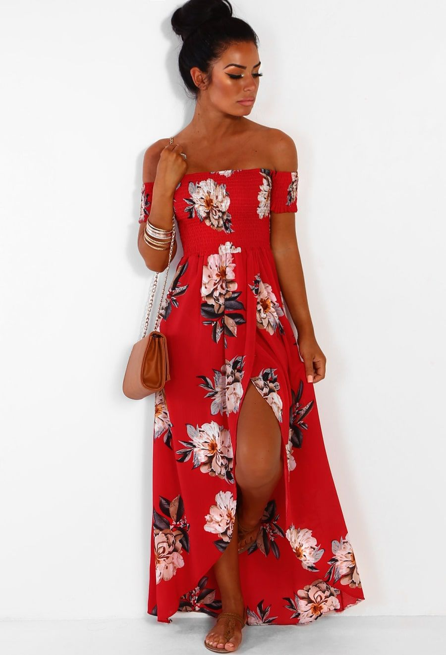 6b725995b914 Sunshine Babe Red Multi Floral Bardot Wrap Maxi Dress | Pink Boutique