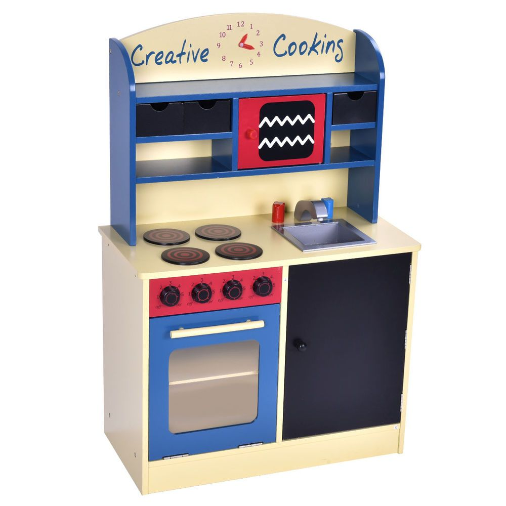 Wood Kitchen Toy Kids Cooking Pretend Play Set Toddler Wooden Playset Gift  New