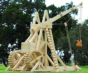 Declare war on your neighbors with this real wooden medieval trebuchet. It may not be able to blow up planets like the Deathstar, but this medieval trebuchet...