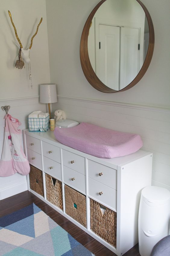 IKEA Kallax turned into a comfy changing table with cubbies