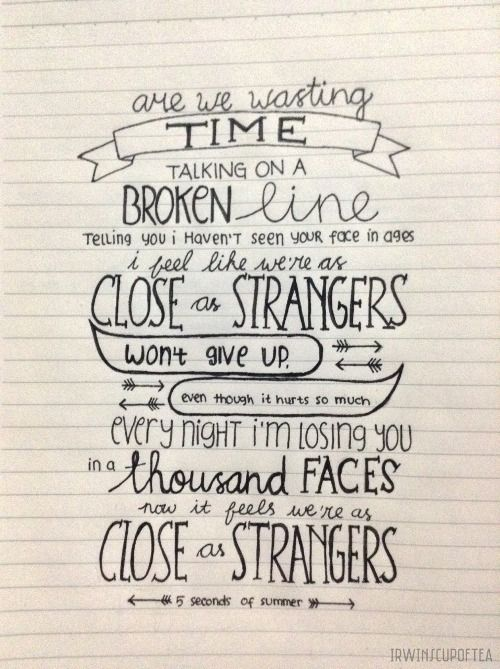 Close As Strangers 5sos Tumblr With Images Drawing Quotes
