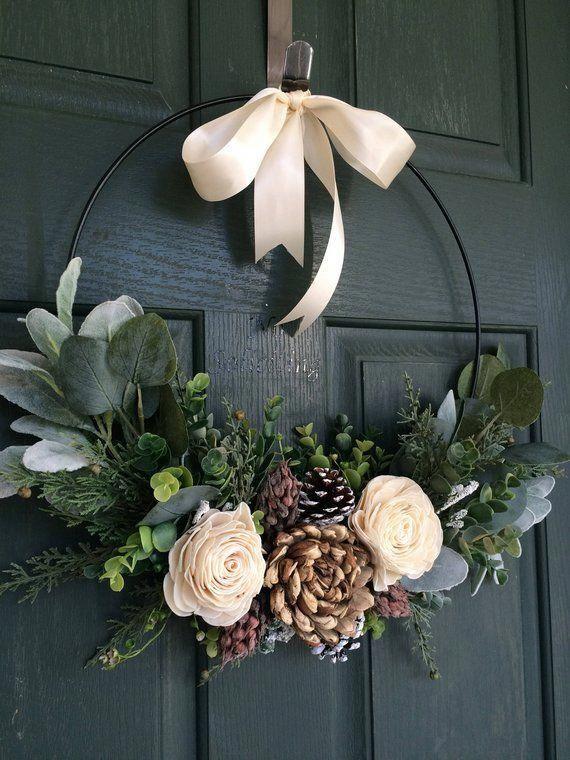 Christmas wreath, wreath for christmas, christmas decor, hoop wreath, modern wreath, door wreath, front door wreath, natural wreath
