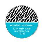 Zebra Print Address Labels Classic Round Sticker