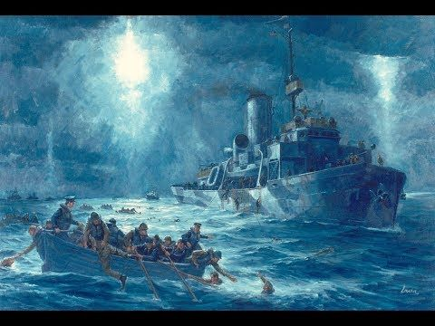 US NAVY RESCUE OF SS DORCHESTER SAILORS PAINTING WWII WAR ART REAL CANVAS PRINT