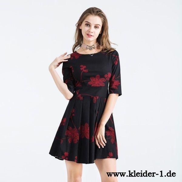 Mini Kleid Blumenkleid in Schwarz | Blumenkleid, Party ...