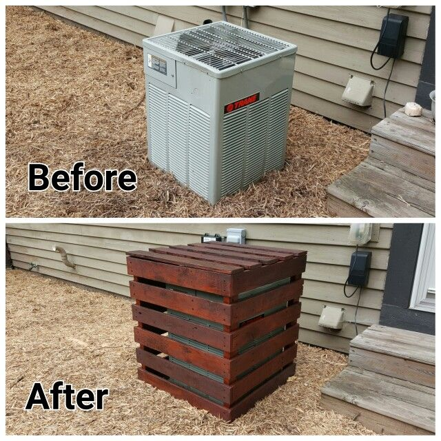 My new air conditioner cover made from pallets. Air