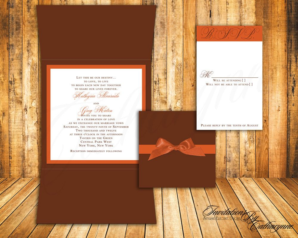 Fall Wedding Invitations In Orange And Brown By Catharynne On Etsy 245: Orange And Brown Wedding Invitations At Reisefeber.org