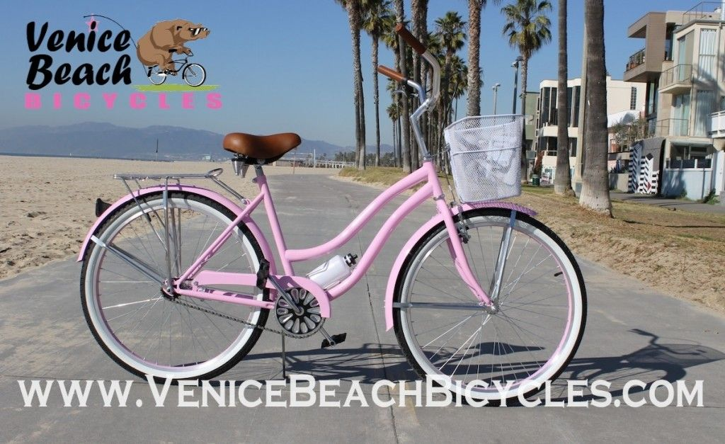 Pink Beach Cruiser With Basket Beach Bicycle Beach Cruiser Beach Cruiser Bicycle