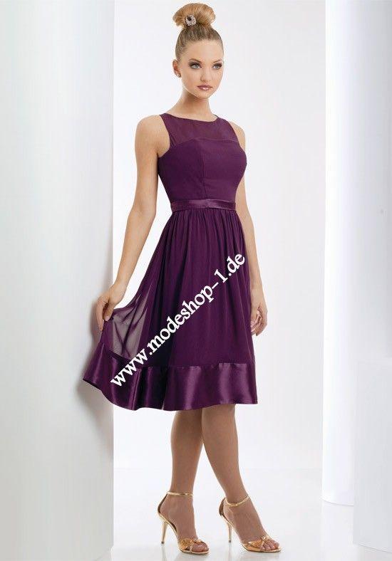 Knielanges Chiffon Abendkleid in Lila | Abendkleid ...