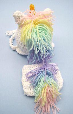 99743cbd239 Crochet Baby Unicorn Hat Diaper Cover Set Knit Infant Toddler Beanie Photo  Prop