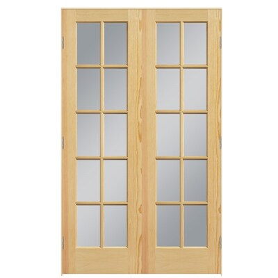 Masonite Prehung Solid Core 10 Lite Clear Glass Pine Interior Door Common 48 In X 80 French Doors Interior Prehung Interior French Doors Pine Interior Doors