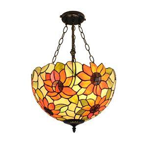 (EU Lager)Tiffany Hängeleuchte Sonnenblume Design Glas Schirm Im Wohnzimmer