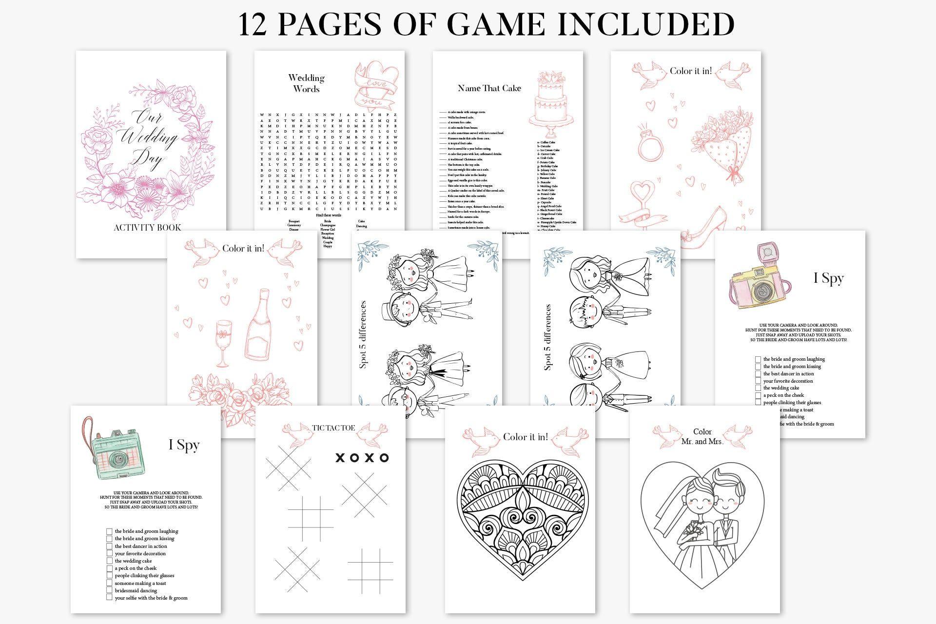 Wedding Activity Book Printable Wedding Coloring Book Kids Etsy In 2021 Wedding Games For Kids Kids Wedding Activities Wedding With Kids