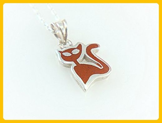 Women's Tiny Sterling Silver Red Coral Cat Pendant Necklace 16'' Silver Chain - Wedding nacklaces (*Amazon Partner-Link)