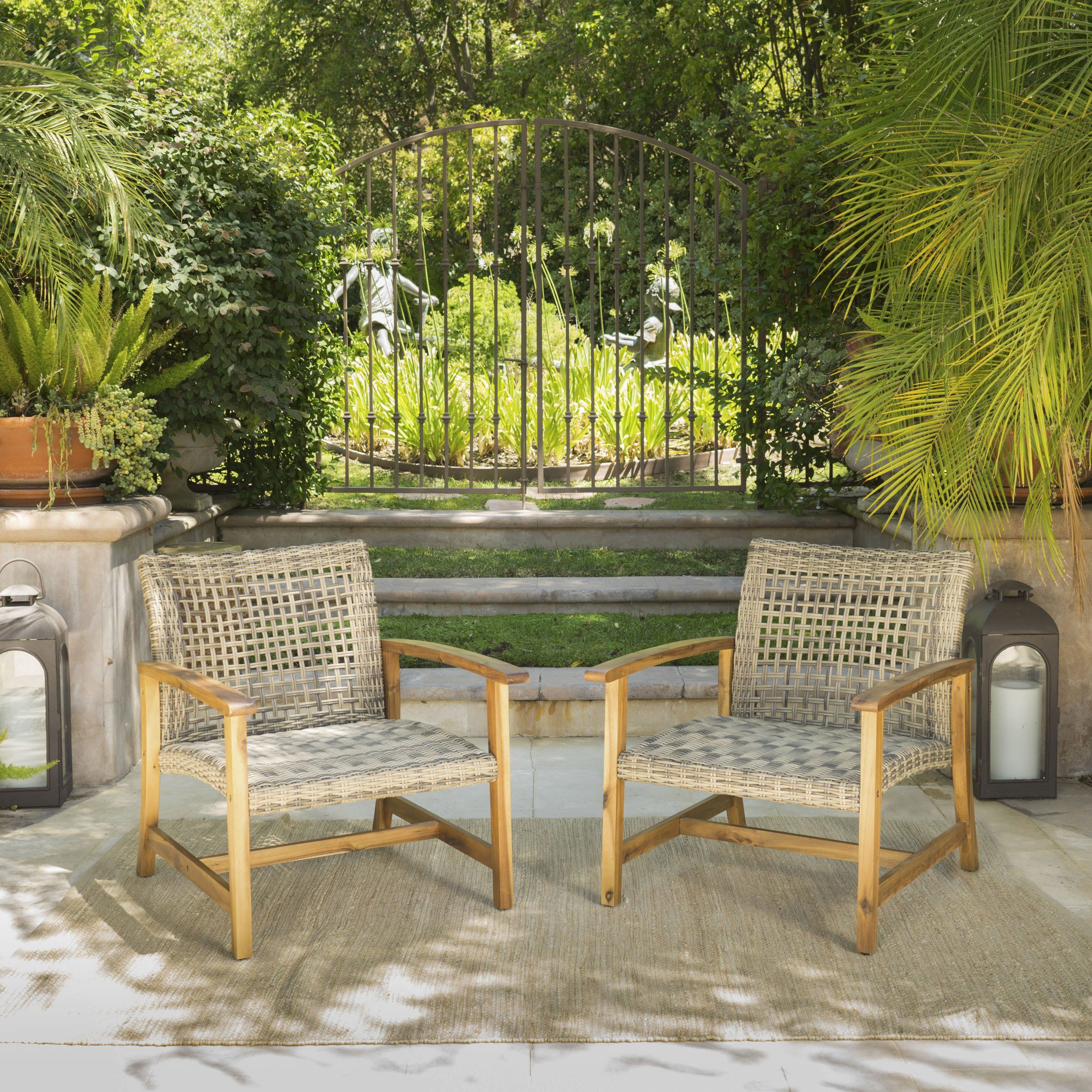 Savannah outdoor mid century acacia wood frame wicker club chairs set of 2