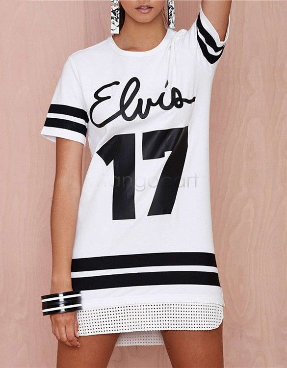 6dc00ae5514d6 Aliexpress.com  Comprar Ropa de verano moda Casual números y letras  impresas camiseta larga de la mujer con estilo vestido de la camiseta 36 de  camiseta con ...