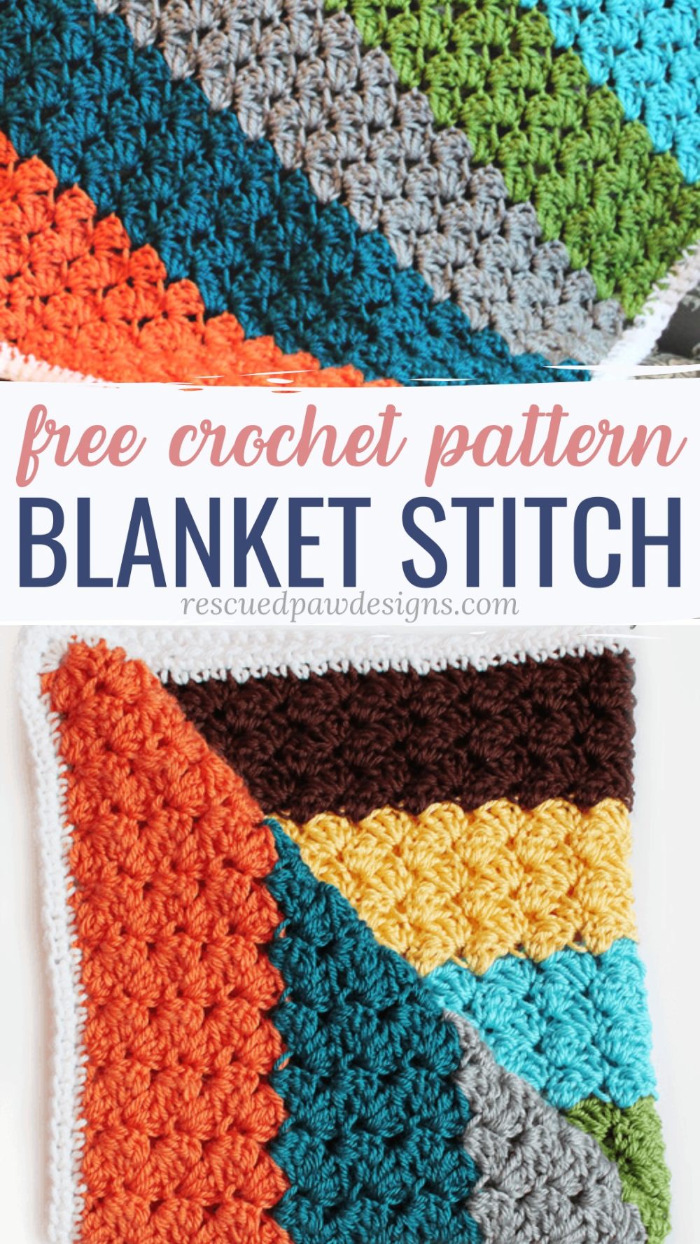 How to Crochet a Blanket Stitch Pattern - Rescued Paw Designs #crochetstitchespatterns