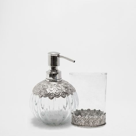 SILVER PLATED METAL AND GLASS BATHROOM SET  Accessories Bathroom Zara Home United Kingdom