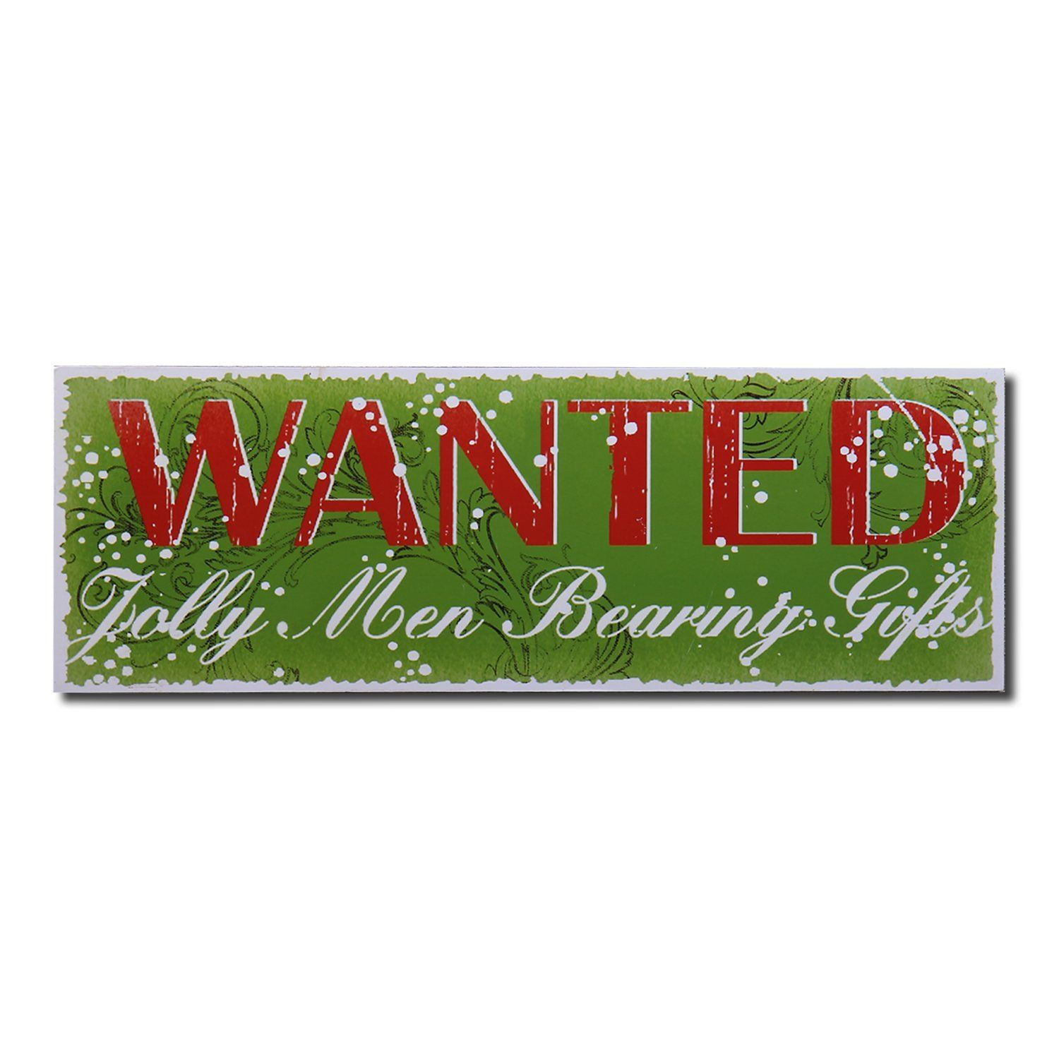 Adeco Decorative Wood Wall Hanging Sign Plaque Christmas Wanted Jolly Men  Bearing Gifts Green Red Home Decor * Visit The Image Link More Details.