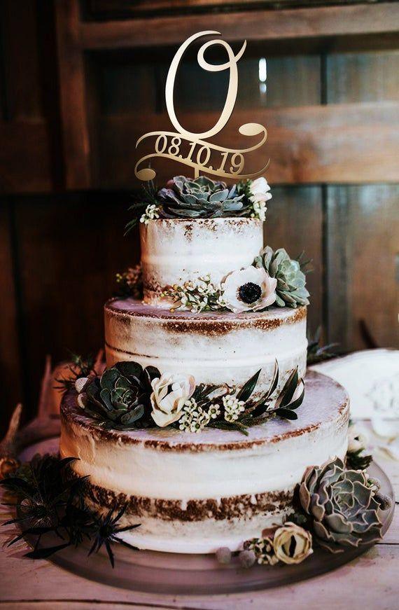 O letter cake topper date cake topper wedding gold cake | Etsy