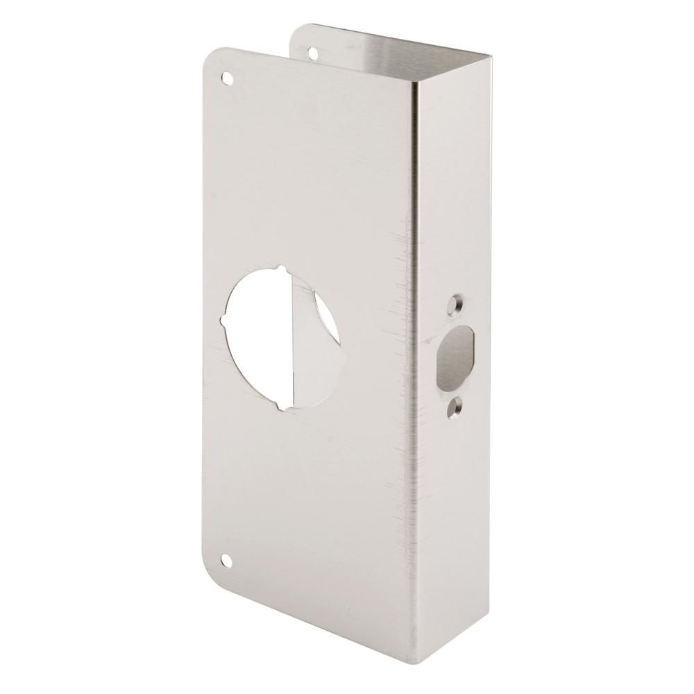 Prime Line 1 3 4 In X 9 In Thick Solid Brass Lock And Door Reinforcer 2 1 8 In Single Bore 2 3 4 In Backset Stainless Steel Doors Steel Doors Garage Door Decorative Hardware
