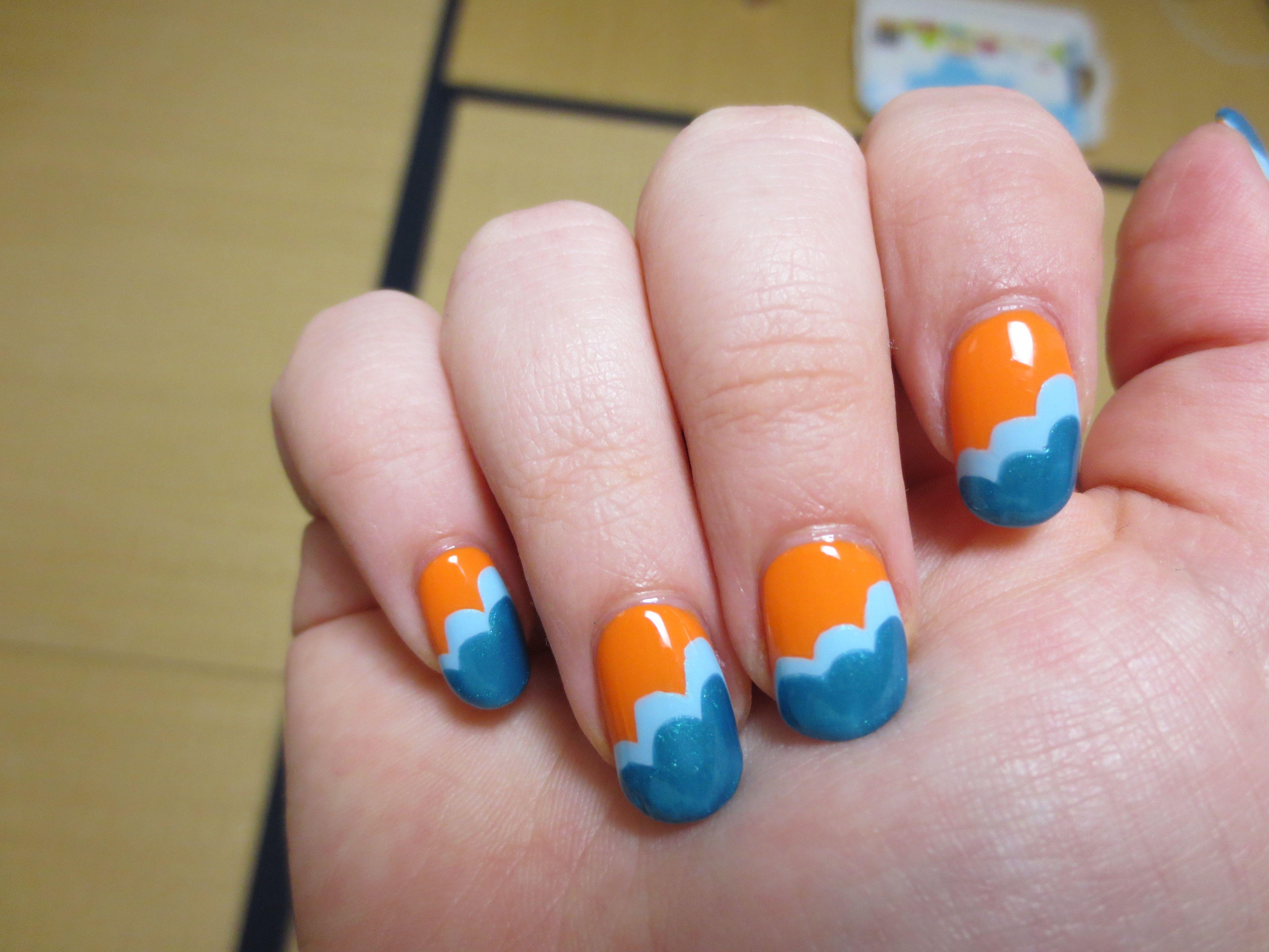 Color Block Cloud nails