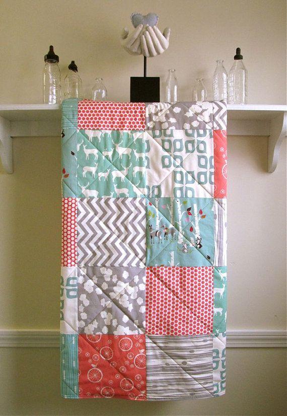 Organic Baby Quilt, Modern - Birch Forest - Gray, Red, Pink, Mint, Ivory - Woodland, Deer, Animals, Elk, Chevron - Flannel or Minky - Girl