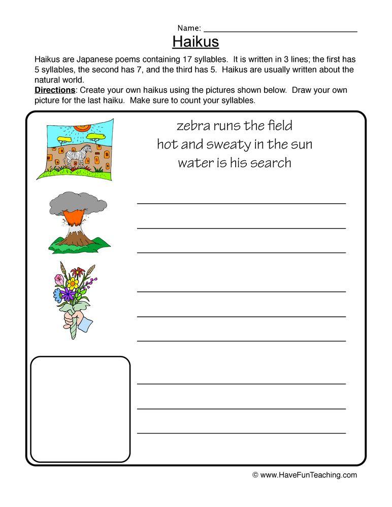 Haiku Pictures Worksheet Writing poems, Writing