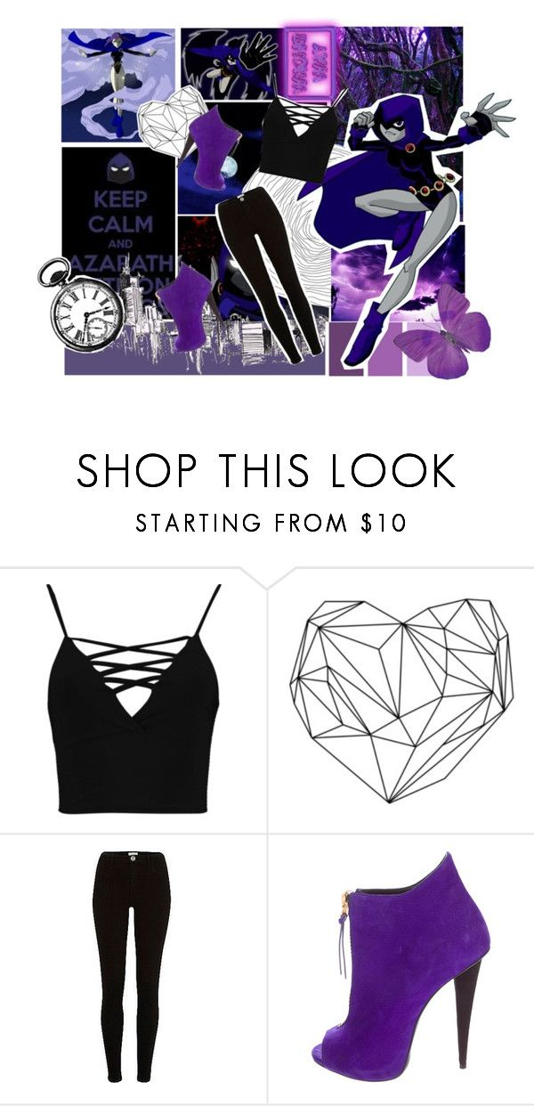 """""""Raven"""" by blacknwhitmay ❤ liked on Polyvore featuring Boohoo, River Island and Giuseppe Zanotti"""