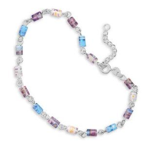"""9""""+1""""Extension Millefiori Bead Anklet Other-Midwest Jewellery. $33.58. 100% Satisfaction Guaranteed. 9""""+1""""Extension Millefiori Bead Anklet. 9"""" + 1"""" extension sterling silver glass millefiori bead anklet. Beads are approximately 5mm x 4.5mm. Anklet has a spring ring closure.. Save 46%!"""