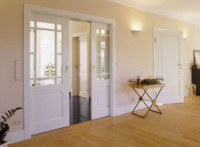 puerta corredera saln madera